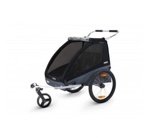 Juodas Chariot Coaster XT dviračio priekaba + vežimėlis