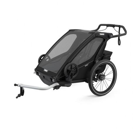Vežimėlis vaikui, dviračio priekaba Thule Chariot Sport 2 juodas