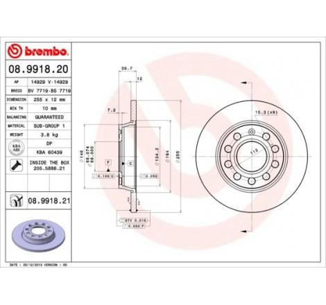 Stabdžių diskas Brembo Audi...